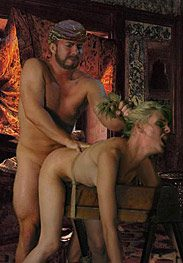Slavegirls in an oriental world - To prepare the tight virgin channel for his cock by Damian